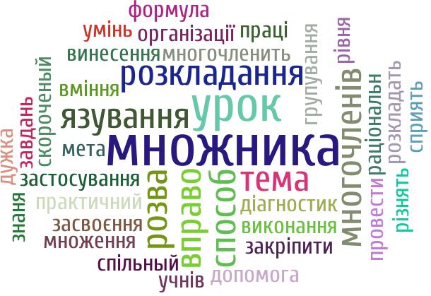 множника (4), урок (3), вправо (2), розкладання (2), розва (2), тема (2), способ (2), язування (2), многочленів (2), розкладать (1), сприять (1), многочленить (1), застосування (1), допомога (1), раціональн (1), групування (1), спільный (1), закріпити (1), знаня (1), винесення (1), виконання (1), провести (1), множення (1), різнять (1), дужка (1), засвоєння (1), формула (1), рівня (1), учнів (1), завдань (1), вміння (1), практичний (1), праці (1), організації (1), скороченый (1), мета (1), умінь (1), діагностик (1)